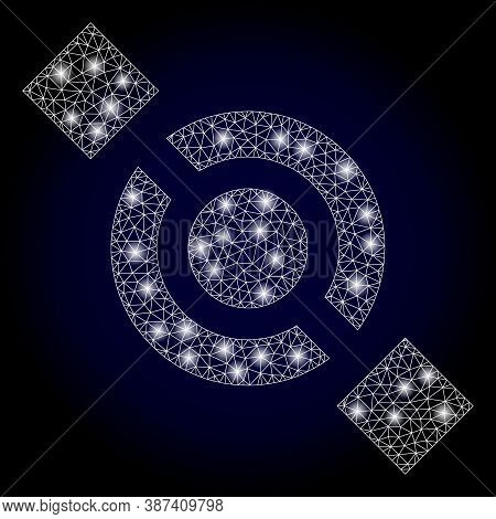 Glare Mesh Polygonal Joint Node With Light Spots. Illuminated Vector Constellation Created From Join