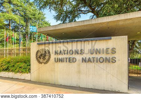 Geneva, Switzerland - Aug 16, 2020: Banner Coat-of-arms At Hq Of United Nations Or Palais Des Nation