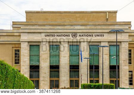 Geneva, Switzerland - Aug 16, 2020: Close Up Of United Nations Offices Or Palais Des Nations In Aria