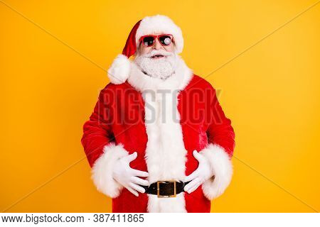Portrait Of His He Nice Funny Glad Cheerful Cheery White-haired Santa Big Belly Stomach Abdomen Laug
