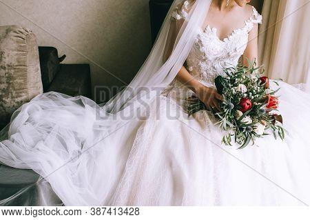 Woman In Wedding Dress, Wedding Rings, Wedding Bouquet