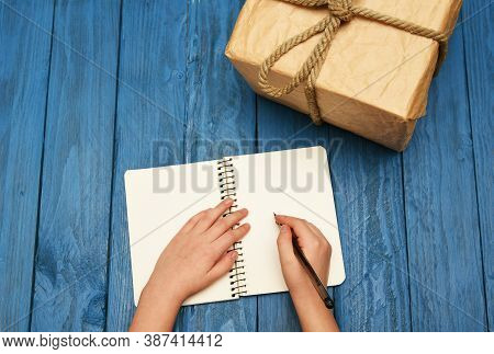 Flatlay Children Writing On Notebook. Write Notepad Mock Up
