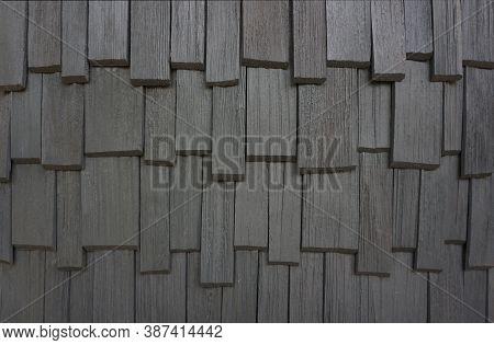 Rough Bumpy Wood Shingle Cladding, Row Of Wooden Material Of Small Shingle Wall Facade.