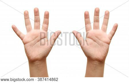 The Children Show Open Hands, Close Up On White Background.