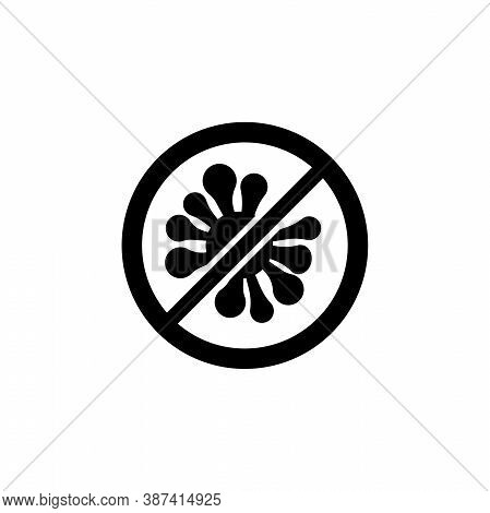 Antibacterial, No Virus, Stop Bacteria. Flat Vector Icon Illustration. Simple Black Symbol On White