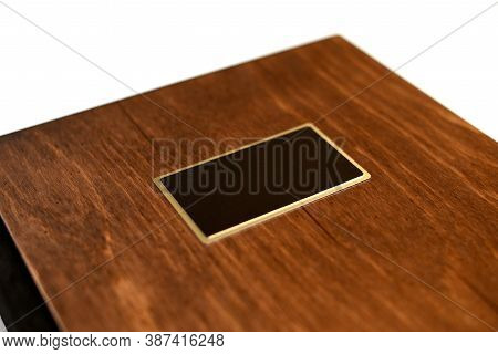 Wood Book Cover With Empty Blank, Small Depth Of Field Mock Up