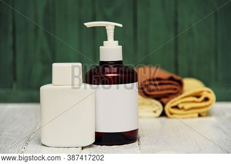 Bottle And Bottle With Napkins, Concept Of Spa And Skin Care Still Life