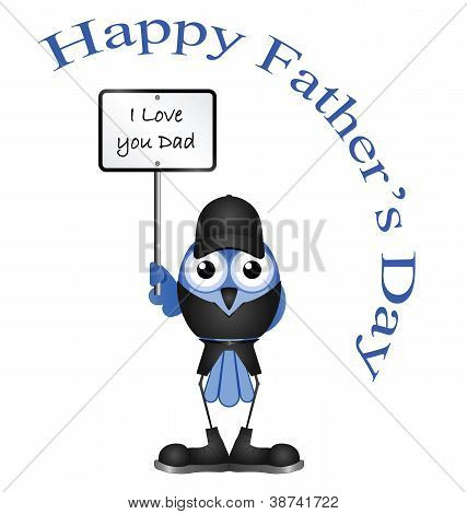 Comical Fathers Day message isolated on white background poster