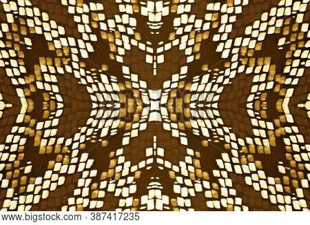 Seamless Predator Pattern. Cobra Or Serpent Animal Print. Jungle Exotic Wallpaper. Yellow, Brown And