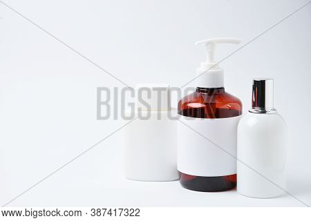 Mockup Cosmetic Flacon And Bottle, Studio Shot On White Background