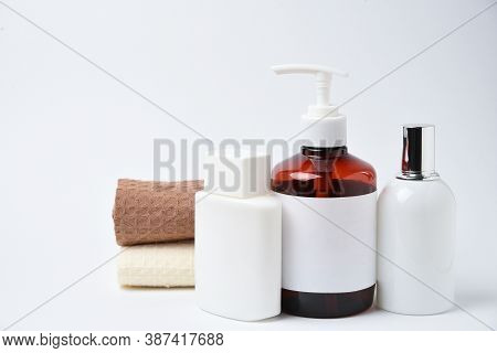 Clean Mockup Branding Spa And Cosmetics Products On White Background