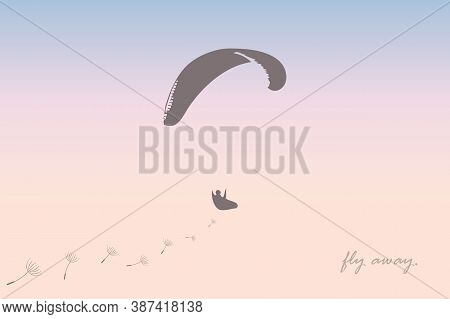 Fly Away Freedom Banner With Paraglider In The Sky Vector Illustration Eps10