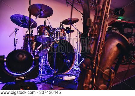 Concert Scene With Blue Light, Drum Set