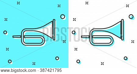 Black Line Musical Instrument Trumpet Icon Isolated On Green And White Background. Random Dynamic Sh