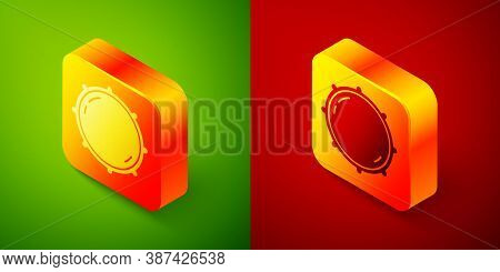 Isometric Dial Knob Level Technology Settings Icon Isolated On Green And Red Background. Volume Butt