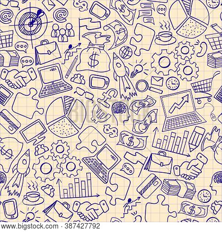 Business Hand Drawn Doodles Seamless Pattern. Hand Drawn Icons On A Copybook Paper. Vector Illustrat