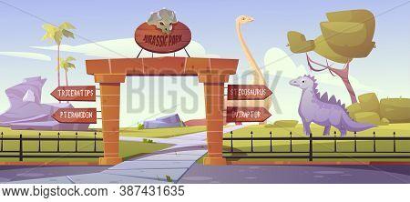 Jurassic Park Gates With Pointers To Dinosaurs Triceratops, Pteranodon, Stegosaurus, Oviraptor Areas