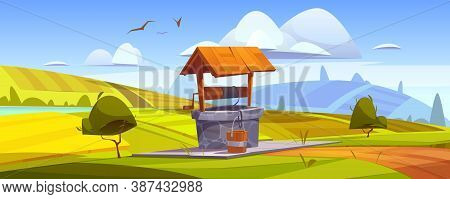 Old Stone Well With Drinking Water On Green Hill. Vector Cartoon Summer Landscape With Vintage Well