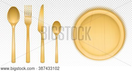 Wooden Cutlery And Round Tray For Pizza In Restaurant Or Canteen. Vector Realistic Set Of Flatware A