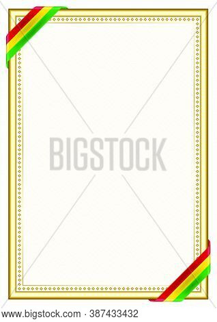 Vertical  Frame And Border With Guyana Flag, Template Elements For Your Certificate And Diploma. Vec