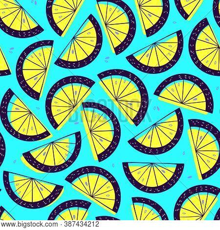 Lemon Slice Seamless Pattern. Citrus Fruit Turquoise Background In Colorful Cartoon Style. Juicy Tas