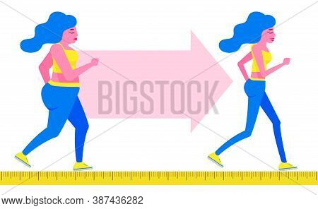 Woman Body Transformation Concept. Running Girl Is Loosing Weight. Great Results In Sports. Vector I
