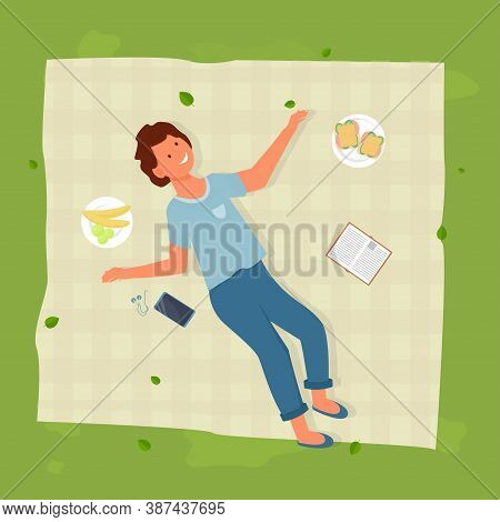 Young Man Lying On Blanket Near Sandwich, Fruit And Book, Outdoor Activity, Picnic Time Stock Vector