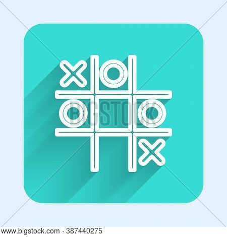 White Line Tic Tac Toe Game Icon Isolated With Long Shadow. Green Square Button. Vector