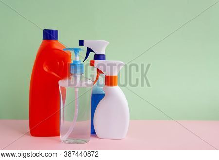 Set Of Cleaning Products For Home Cleaning On A Background With A Meta For Inscription