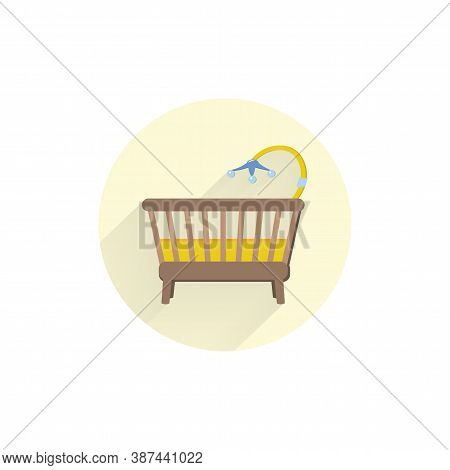Baby Bed Icon. Baby Cradle Colorful Flat Icon With Long Shadow. Cradle Flat Icon