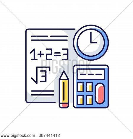 Computational Exam Rgb Color Icon. Math Testing. Time Task. Calculations Answer. Plus, Minus, Mathem