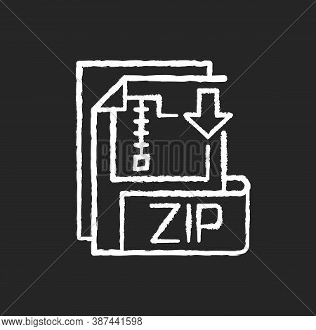 Zip File Chalk White Icon On Black Background. Lossless-compression Binary File Format. Encryption,