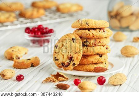 Freshly Baked Homemade Christmas Cookies With Cranberries, Almonds And White Chocolate. Delicious Fe