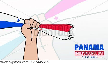 Panama Independence Day With Hands Gripping The Panama Flag Design.