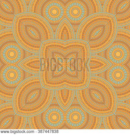 Beautiful Italian Maiolica Tile Seamless Pattern. Ethnic Geometric Vector Swatch. Coverlet Print Des