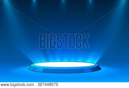 Stage Podium With Lighting, Stage Podium Scene With For Award Ceremony On Blue Background.