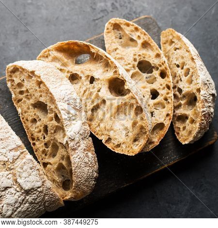 Fresh Homemade Rye Ciabatta. The Concept Of Comfortable Delicious Family Food. Carbohydrates. Bakery