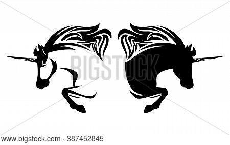 Mythical Unicorn Horse Side View Outline - Horned Stallion Simple Black  And White Vector Portrait