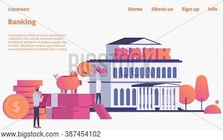 Bank Webpage, Landing Vector Illustration. Web Site For Banking Operations, Deposit Money In Piggy B