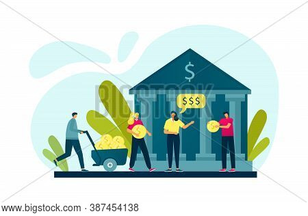 Banking People Investing Cash Money, Bank And Finance Flat Vector Illustration. Financial Operations