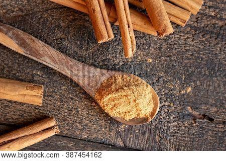 Ceylon Or True Cinnamon Powder On A Spoon