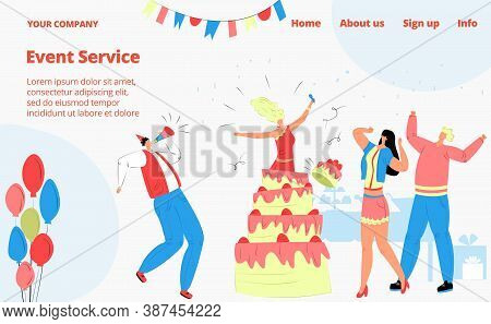 Birthday Party Celebration, People With Friends, Event Service Landing Page, Vector Illustration. Bi