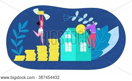 Buying House, New Home Investment Or Housing Payment Vector Illustration. Buying New House Young Fam