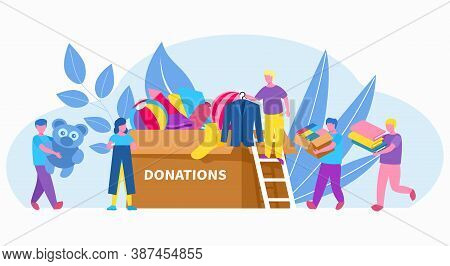 People Volunteer With Box Of Clothing Donation, Charity, Social Help In Community Vector Illustratio