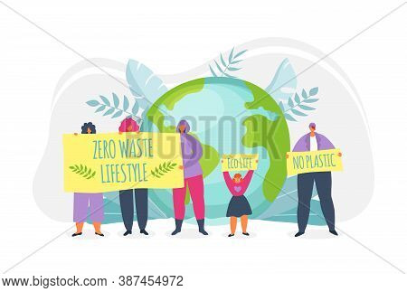 Eco Life On Green Planet, Ecology, Enviroment Vector Illustration. Earth Day. People Holding Placard