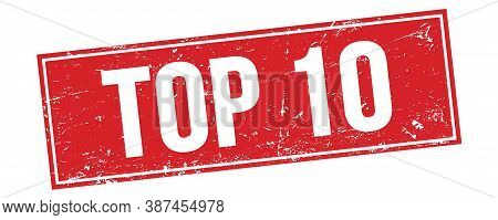 Top 10 Text On Red Grungy Rectangle Stamp.