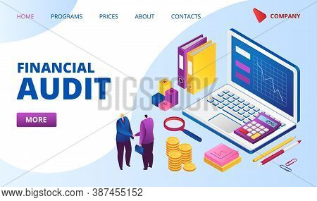 Financial Audit Landing Web Page Vector Illustration. Magnifying Glass, Analysis Of Financial Report