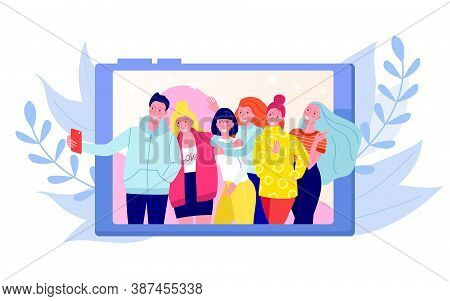 Friends Making Photo, Selfie Foto Shot Of Group Of Young Happy People Vector Illustration. Girls And