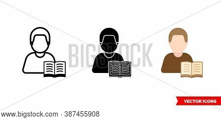 Reader Bibliophile Icon Of 3 Types Color, Black And White, Outline. Isolated Vector Sign Symbol.