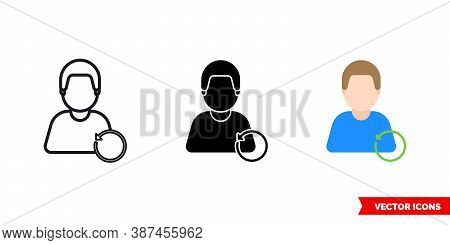 Refresh Unwind Icon Of 3 Types Color, Black And White, Outline. Isolated Vector Sign Symbol.